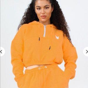 Playboy Orange Zip Through Cropped Hoodie
